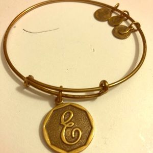 Alex and Ani E initial Gold Bangle
